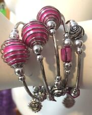 Hot Pink Glass Pearl Beads Faux Silver Memory Wire Coil Bracelet - Handmade