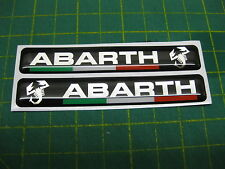 2 Domed Abarth Domed stickers Black with an Italian Flag V002 95mm x 15mm
