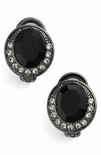 $38 Givenchy Hematite Tone Jet Black Halo Pave Crystal Button Clip Earrings NEW