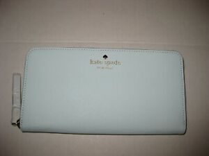 Kate Spade Lacey Mikas Pond Zip Around Leather Wallet Clutch Islandwaters - Mint