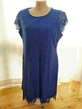 Dazzling Blue LACE layer overlay dinner party short sleeve SHIFT dress 22  NEW