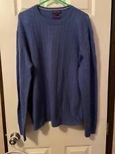 Alan Flusser Blue Cashmere Sweater Mens Size XXL NWOT