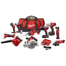 Milwaukee M18 18-Volt Li-Ion Cordless Combo Kit 10-Tool 2-Battery Charger 2 Bags