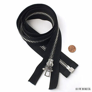 High Quality Zipper 1 Way Separating End, Black, Silver, Size 10, 36 inch