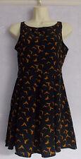 Ladies GLAMOROUS black/tan chiffon  sleeveless dress Size 8