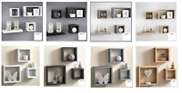 SET 3/4 CUBE RECTANGLE WALL MOUNTED SHELVES FLOATING SHELF BOOKCASE HANGING NEW