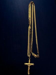 18k Japan Gold Necklace and Crucifix Pendant
