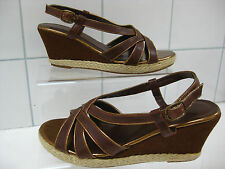Ladies BARRATTS brown gold wedges mules espadrilles shoes size UK 4