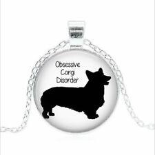 dome Necklace chain Pendant Wholesal Obsessive Corgi Disorder Tibet silver Glass