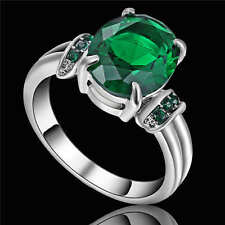 Vintage Round Green Emerlad Wedding Ring 18K White Gold Filled Jewelry Size 9
