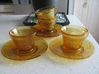 Tiara Sandwich Amber Depression Glass Tea Cups/Saucers Indiana Glass - SET OF 4