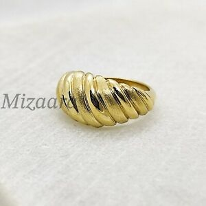 REAL CROISSANT 925 STERLING SILVER STACKABLE BAND DOME WOMEN GIFT RING YP005