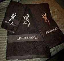 Browning 3pc Brown Towel Set-1BathTowel,1HandTowel,1Cloth Embroidered