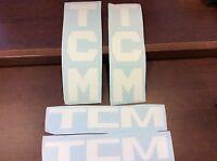TCM forklift vinyl  decal white  2 vertical for mast, 2 horizontal  for hood