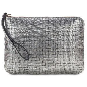 Patricia Nash Cassini Metallic Woven Leather Wristlet - Silver Satchel