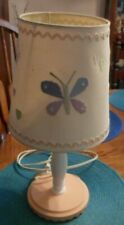 Girl's Lamp with Shade Girls Room White pink wood base,shade has butterfly,flora