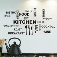 Kitchen Words Removable Vinyl Wall Sticker Home Room Decor Art Mural Decal