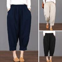 Mode Femme Coton Taille elastique Couleur Unie Simple Ample Poche Pantalon Plus