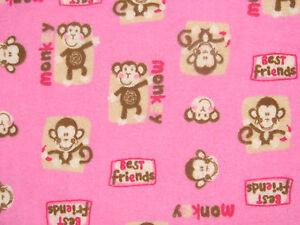 "Handmade Flannel Fitted Crib Sheet Pink  Monkey ""Best Friends"" ?/ Girl"