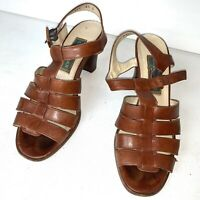 Vintage Cole Haan Brown Leather Womens Heel Sandals Size 6.5 Strappy Made Italy