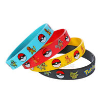 4x Cute Pokemon Go Pikach Wristband Bangle Silicone Bracelet Gifts Color Random