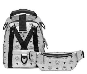 $1330 New MCM Jemison 2 in 1 Silver Coated Canvas Mini Backpack MUK9SJV23SB001
