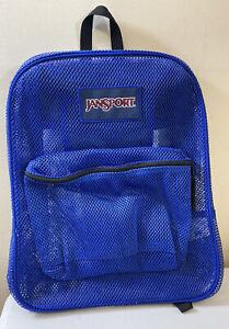 JANSPORT Blue Mesh Backpack School Gym Travel Book Bag Laptop