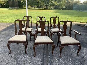 Henkel Harris set of 6 queen anne dining chairs