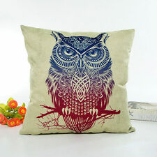 Owl Tattoo Style Patterned Linen Square Pillow Cushion Cover.