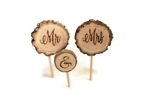 Rustic Mr & Mrs Calligraphy Engraved Wedding Cake Topper 3 pc  Rustic USA Made