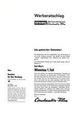 Werberatschlag WINNETOU - 1. TEIL | Ausgabe Wiederaufführung 1971 | Karl May