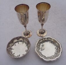 New listing Wine Champagne Flutes Ricci Silversmiths Italy Set of 2 & 2 Coasters Silverplate