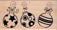 "three ornaments inkadinkado Wood Mounted Rubber Stamp 1 1/2 x 3""  Free Shipping"