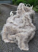 Luxury Large Mongolian Faux Fur Grey Brown Beige Brown Throw Feather Long Hair