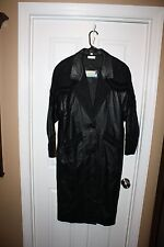 EXCELLENT Springwest Women's Full Length Black Tooled Leather Coat Sz S