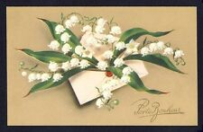 cpa PRINTEMPS Lettre MUGUETS Porte Bonheur Letter Lily of the Valley Lucky Charm