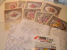 HOBBY LINE C.KREUL KUNSTLER rosen auf holz gemalt ROSE PEINTURE sur BOIS WOOD