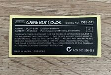 Nintendo Game Boy Color Replacement Model Information Sticker For Colour Console