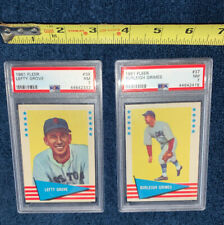 PSA 7 NM LOT 1961 FLEER #37 38 BURLEIGH GRIMES LEFTY GROVE GRADED NEAR MINT HOF