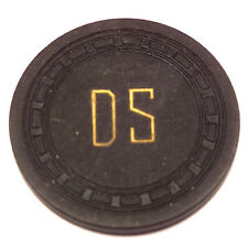 """Vintage """"DS"""" Casino Card Room Black UNKNOWN Chip"""