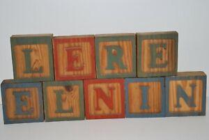 Vintage Group 9 Wood Blocks ABC  Alphabet Letters