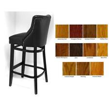 Quality Bar Stool  / Faux Leather / Black Paint / Deep Button / High Stool