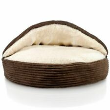 Fleecy Pet Cave Round Soft Bed for Small Dog or Cat with Removable Top 24 inches