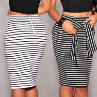 Fashion Women's Casual Bandage Skirt Slim High Waist Striped-Mini Bottoms Ski Nd
