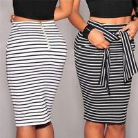 Fashion Women's Casual Bandage Skirt Slim High Waist Striped Mini Bottoms Skirts