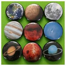 SOLAR SYSTEM 1in buttons pinbacks badges MARS EARTH MOON ALIENS SPACE PLANETS