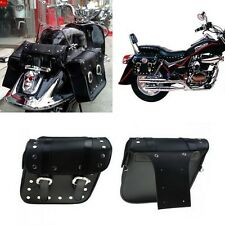 2x Motorcycle Bike Saddlebags Saddle Bags Leather Pouch for Harley Pannier Black