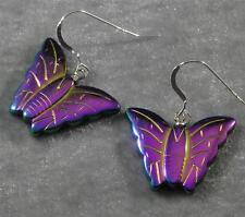 Rainbow Manmade Hematite Butterfly Earrings Purple Blue Green Gold Silver #1