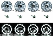 "5-3/4"" White LED Halo Halogen Light Bulb Headlight Angel Eye Crystal Clear Set"