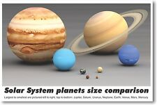 Solar System Planets Size Comparison - NEW Classroom Science Poster